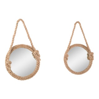 Two Audoux Minet Style Nautical Hand-Crafted Round Rope Wall Mirrors For Sale