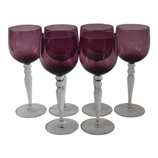 Vintage Mid Century Eggplant Wine Glasses, Set of 6 For Sale