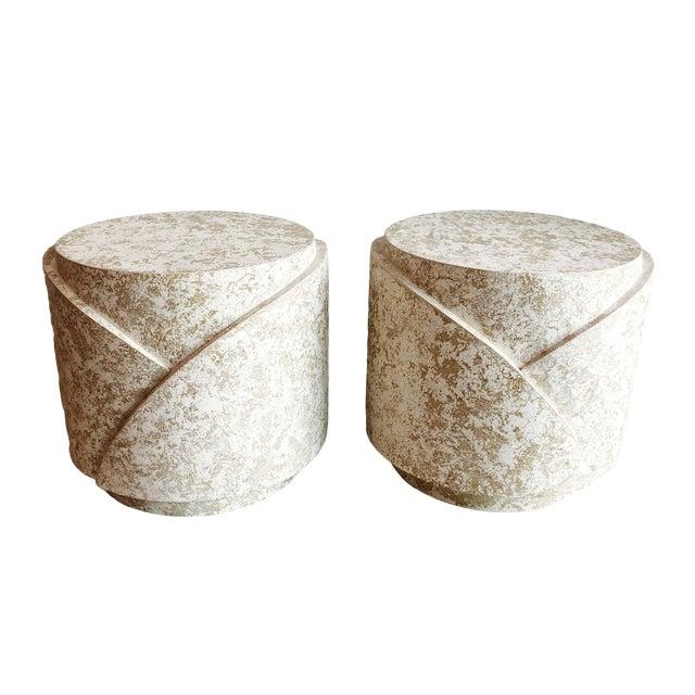 Vintage Sculptural Textured Plaster Cylindrical Pedestal Tables - a Pair For Sale