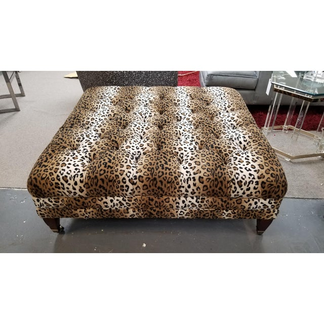 Modern Leopard Print Ottoman For Sale - Image 4 of 5