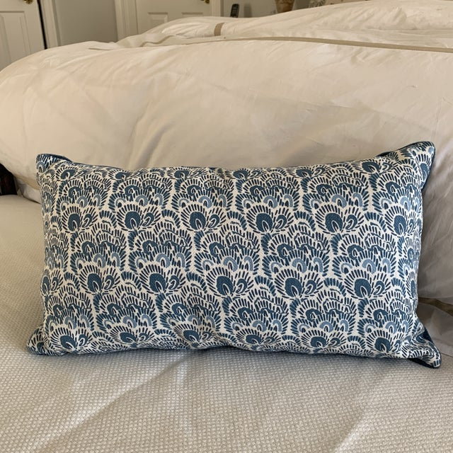 Custom pillow made from PeterFasanos chic blue and white linen and backed in a peacock blue mohair velvet. Zipper, insert...