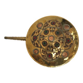 Moroccan Large Tribal Powder Flask in Polished Brass For Sale