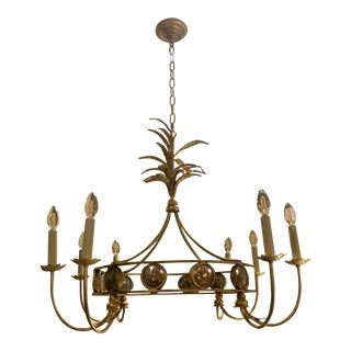 Hollywood Regency Chapman Gramercy 8 Light Gilded Iron Chandelier For Sale