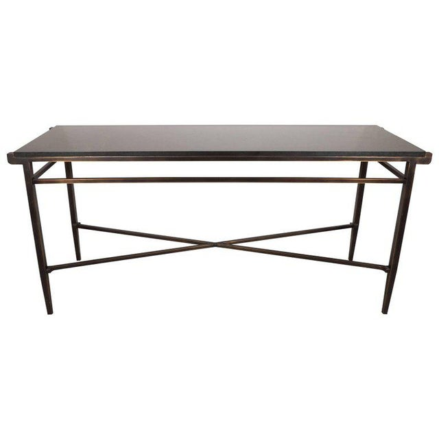 Incredible Modernist X Form Hand Rubbed Bronze Console Table With
