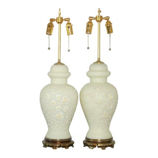 Vintage Italian Ceramic Lamps White For Sale