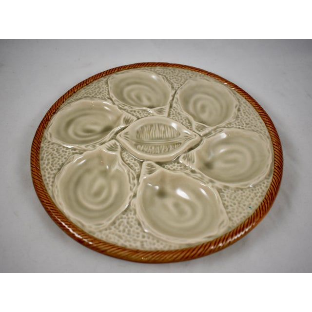 Mid 20th Century St. Clément French Gray Shell, Rope & Lemon Oyster Plate For Sale - Image 5 of 10