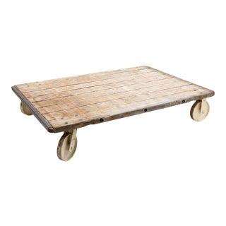 Vintage European Wood Pallet Cart For Sale