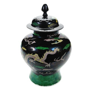 "Chinese ""Famille Noir"" Porcelain Dragon Ginger Jar For Sale"