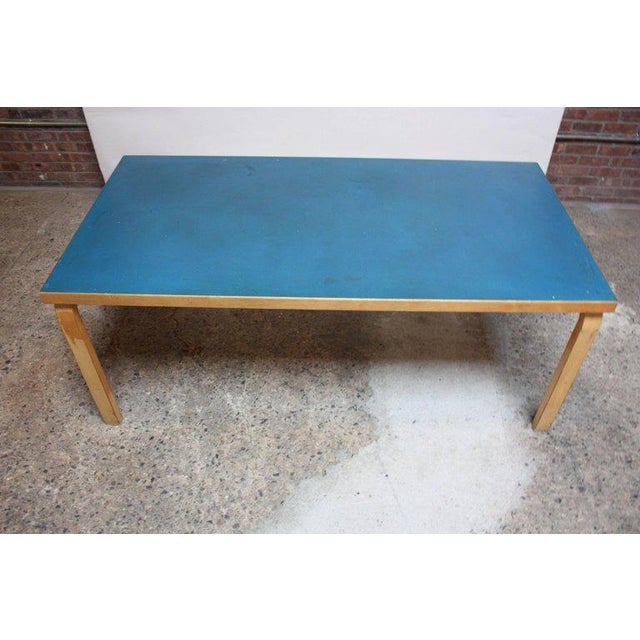 Alvar Aalto Birch Dining or Writing Table with Blue Top and Cabinet - Image 3 of 11