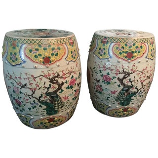 Late 19th Century Chinese Export Famille Rose Porcelain Garden Stools- a Pair For Sale