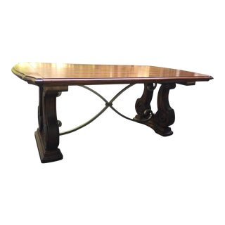 Solid Wood and Iron Dining Table with Leaves