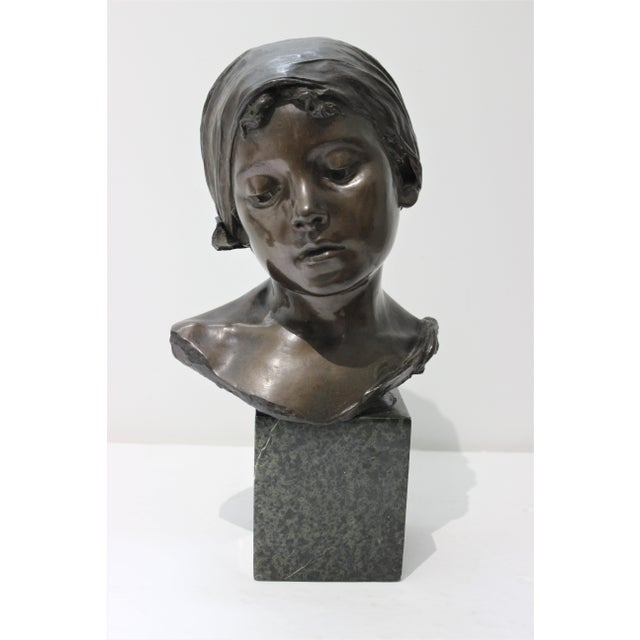 Antique Edouard Rossi of Naples.Bronze Sculpture of a Young Girl For Sale - Image 12 of 13