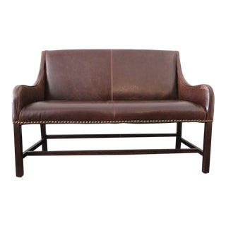 Nailhead Trimmed Leather Settee For Sale