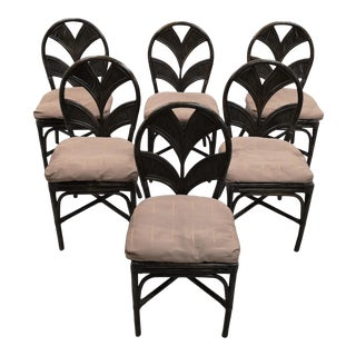 Set of 6 Mid Century Italian Vintage Rattan Bamboo Dining Chairs For Sale