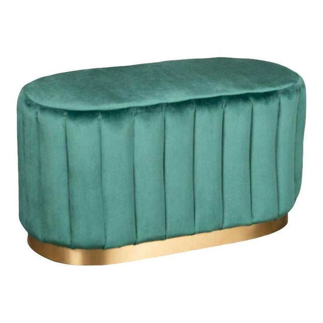 Contemporary Margot Oval Green Ottoman For Sale - Image 3 of 3