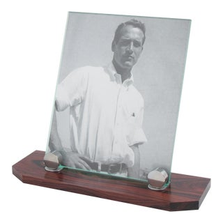 Art Deco Macassar Wood Chrome Picture Frame For Sale