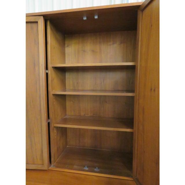 John Stuart Modern Teak & Burlap Breakfront Cabinet - Image 8 of 9