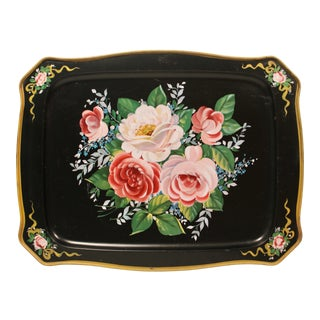 Vintage French Black Tole Tray With Floral Design For Sale
