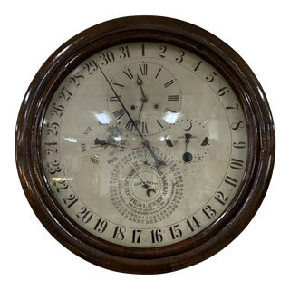 1870s Rare Gale Rosewood Gallery Calendar Clock For Sale