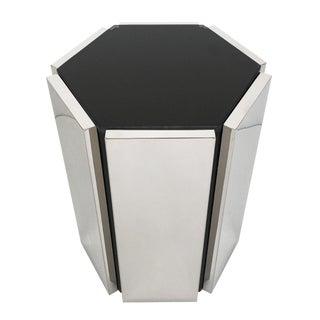 Chrome and Smoke Glass Hexagon Side Table For Sale