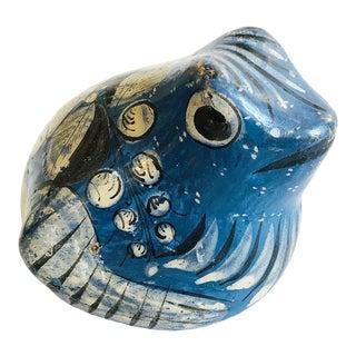 Vintage Petite Blue Tonala Pottery Frog For Sale