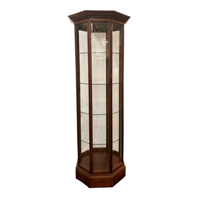 Hand-Made American Octagon-Shaped Mahogany Display Cabinet With Beveled Glass. For Sale