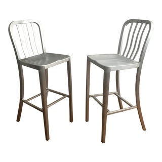 Industrial Crate & Barrel Delta Aluminum Bar Stools - a Pair
