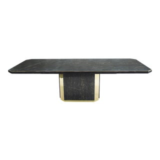 j.c. Mahey for Paco Rabanne Black Portoro Marble Dining Table Brass 1979 For Sale
