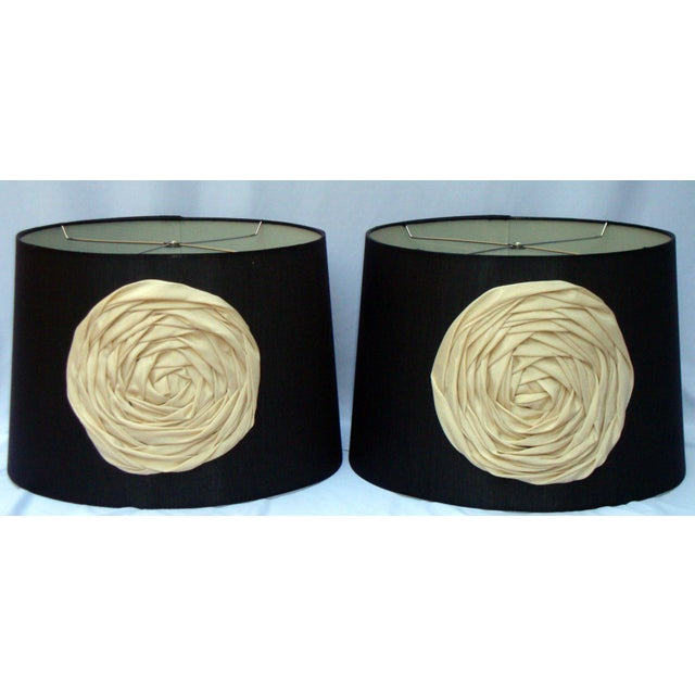 Modern Deco Glam Black Silk Floral Lampshades - Image 4 of 9
