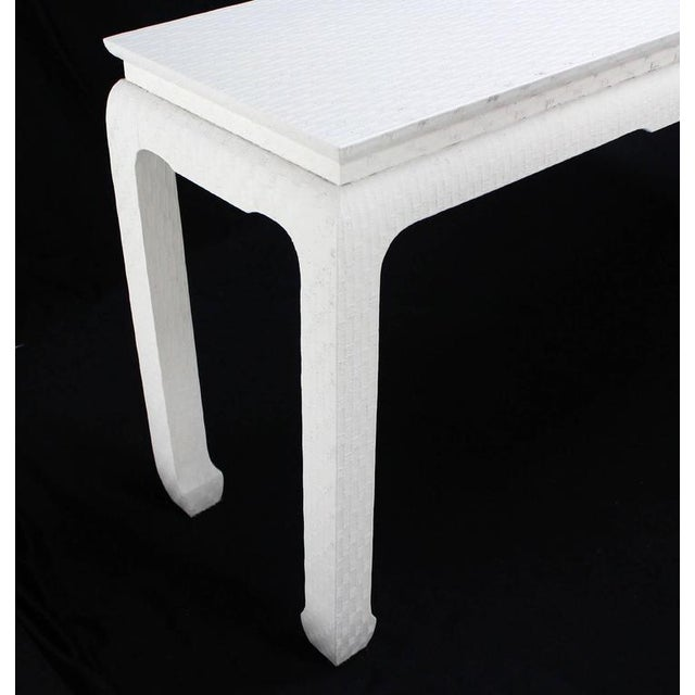 Fabric Grass Cloth Covered White Lacquer Console Sofa Table by Baker For Sale - Image 7 of 10