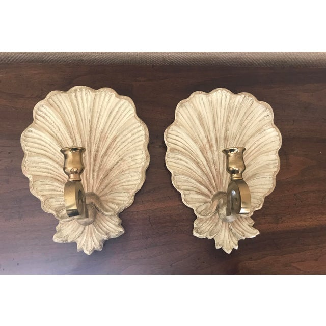 Vintage 1970s Carved Wood and Brass Shell Candle Sconces - a Pair For Sale - Image 9 of 9