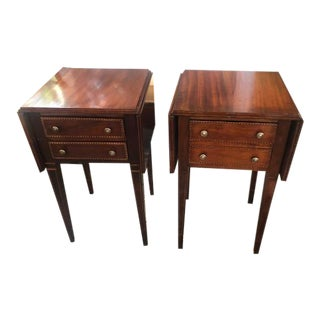 Antique Mahogany Nightstands with Brass Handles - a Pair For Sale