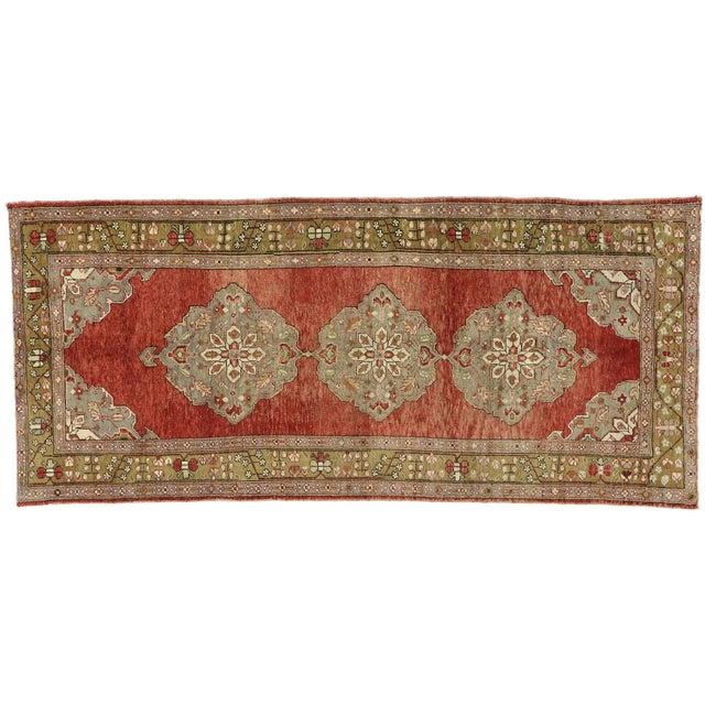 Vintage Turkish Oushak Gallery Rug, Wide Hallway Runner - 05'01 X 11'04 For Sale - Image 10 of 11