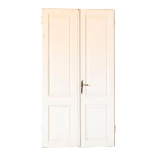 Vintage White Painted Doors - a Pair For Sale