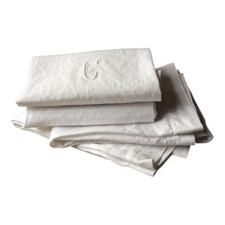 Antique French Linen Towels - Set of 4 For Sale