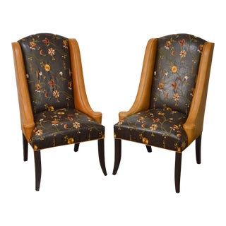 Design Master Custom Tooled Crewel Work Leather Hostess Wing Back Chairs - a Pair