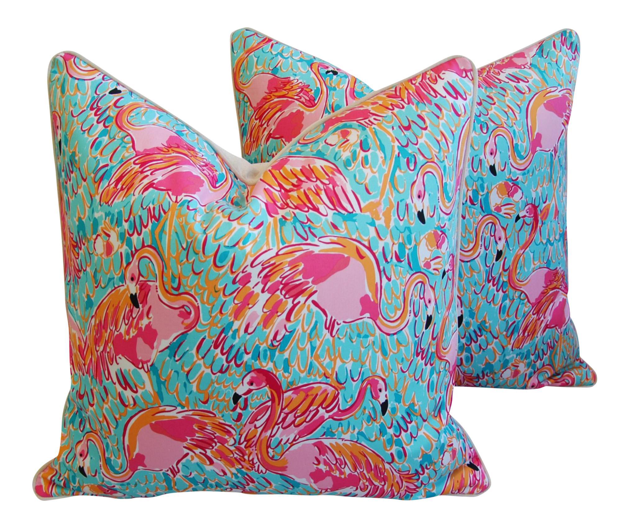 Designer Tropical Pink Flamingo Feather Down Pillows 24