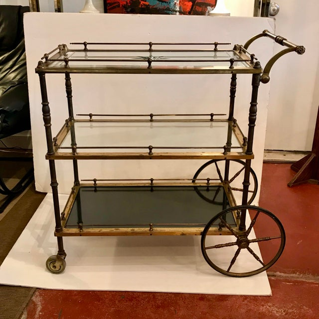 French Bar Cart With Starburst Cut Glass Top For Sale - Image 12 of 12