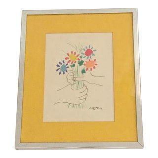 Mid Century Picasso Bouquet of Peace Signed Lithograph 21.4.58 For Sale