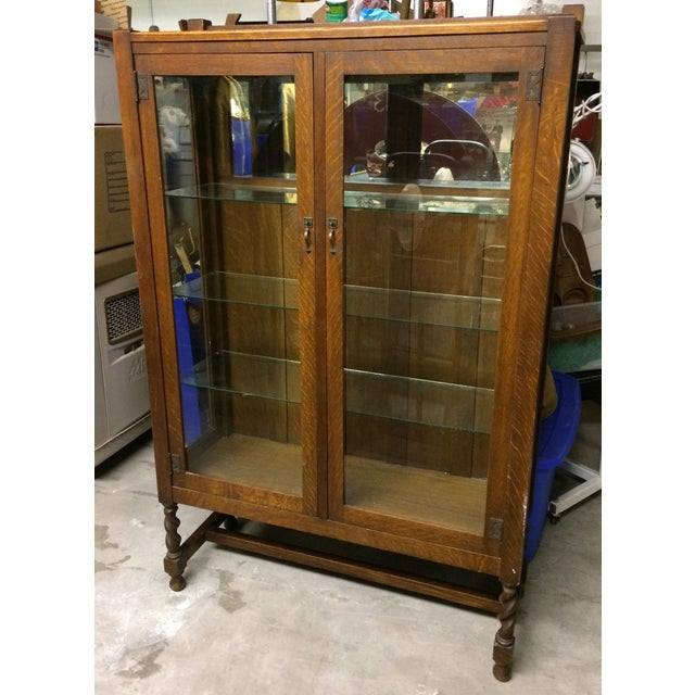 Antique Mission Oak China Cabinet - Image 2 of 10 - Antique Mission Oak China Cabinet Chairish