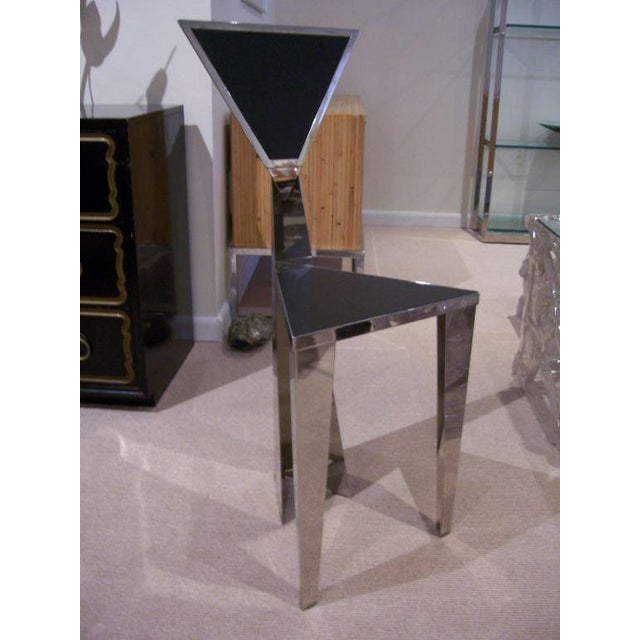 1970s Chic Stainless Steel Triangle Geometric Chair For Sale - Image 4 of 6