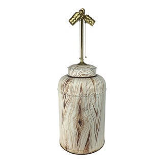 English Tea Caddy Faux Wood Lamp For Sale