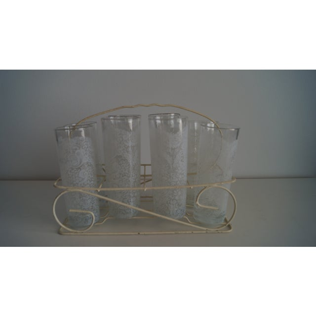 1970s Lace Glasses With Carrying Cart - Set of 7 For Sale - Image 5 of 5