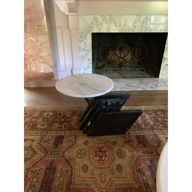 Black 1980s Modern Stacked Marble Table With Rotating Top For Sale - Image 8 of 10