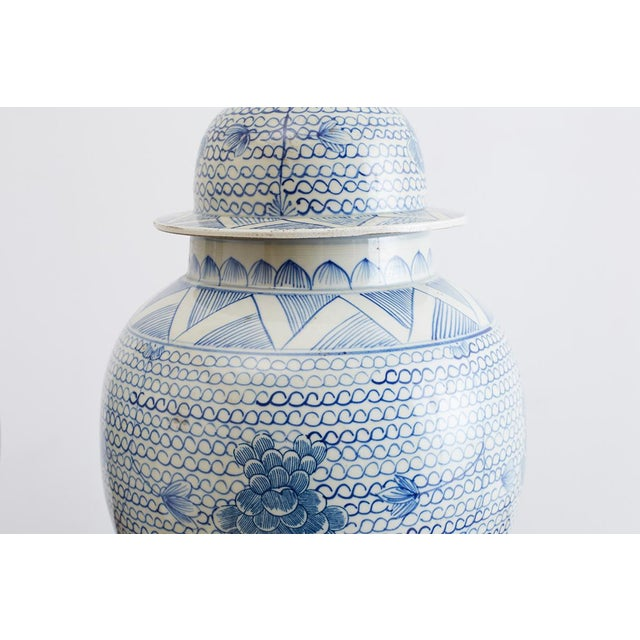 Chinese Porcelain Blue and White Ginger Jar Lamps For Sale - Image 4 of 12