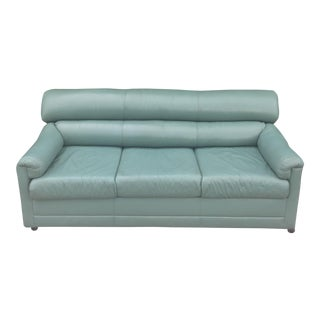1980's Teal Blue Leather Sofa/Bed For Sale