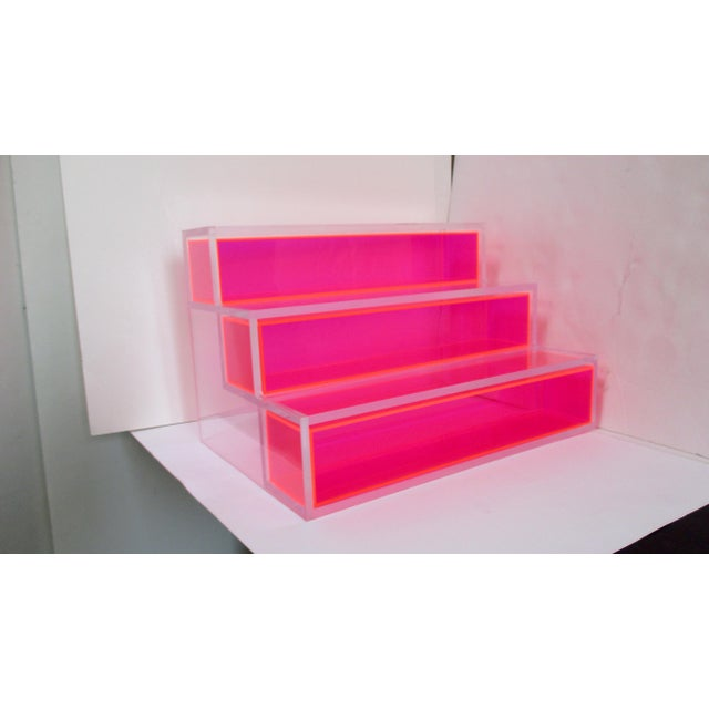 Pink Block Lucite Display Shelving For Sale - Image 10 of 10