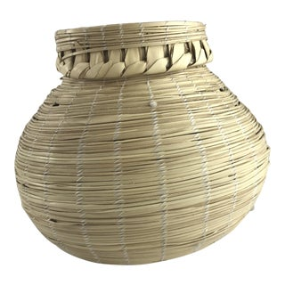 Guatemalan Palm Leaf Woven Lidded Basket For Sale