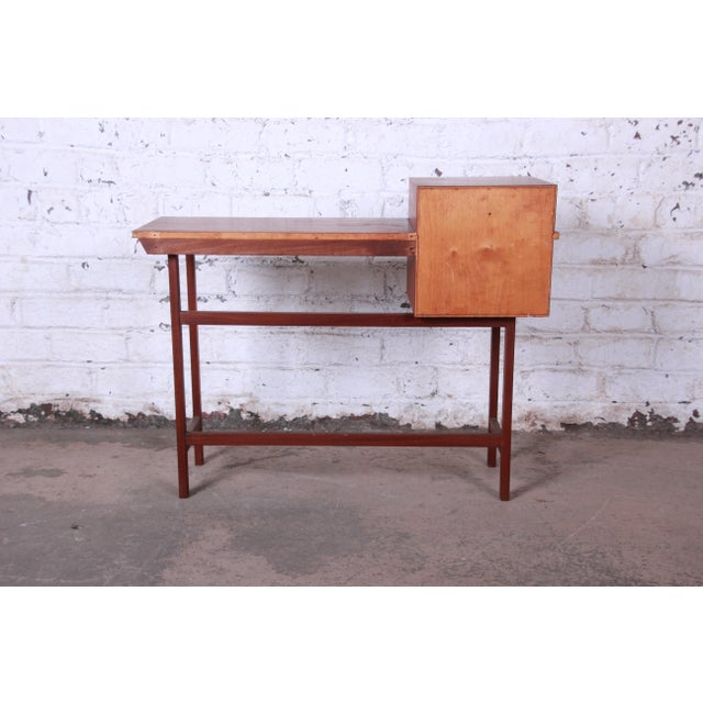 Brown Swedish Modern Petite Teak Vanity Desk or Console Hall Table by Glas & Trä For Sale - Image 8 of 11