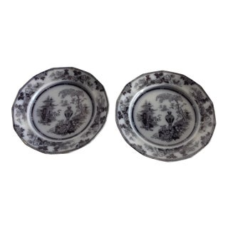 Antique Late 19th Century English Adams Ironstone Plates - a Pair For Sale